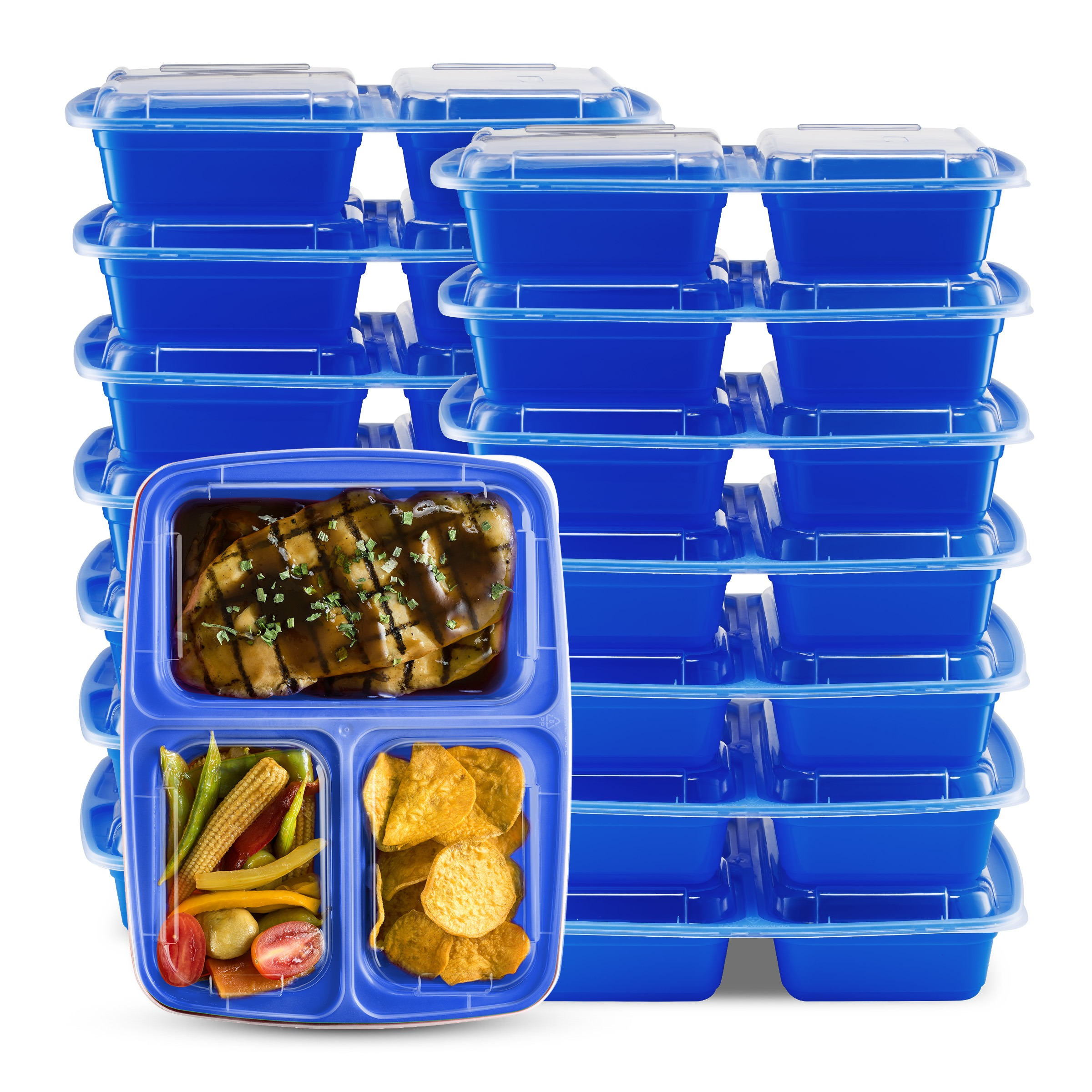 Blue 3 Compartment Food Storage Container 14PK Glomerycom